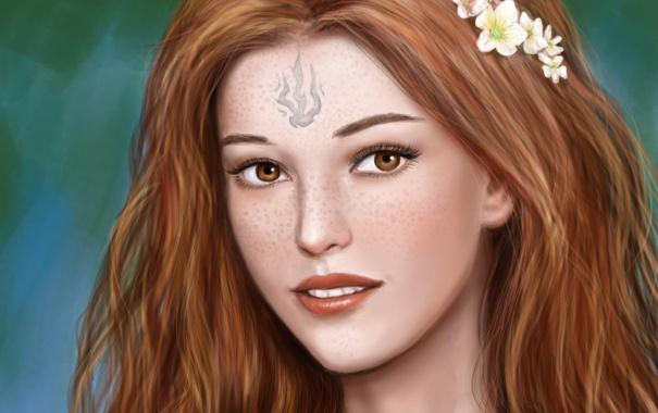 Фото обои взгляд, девушка, цветы, лицо, улыбка, волосы, арт