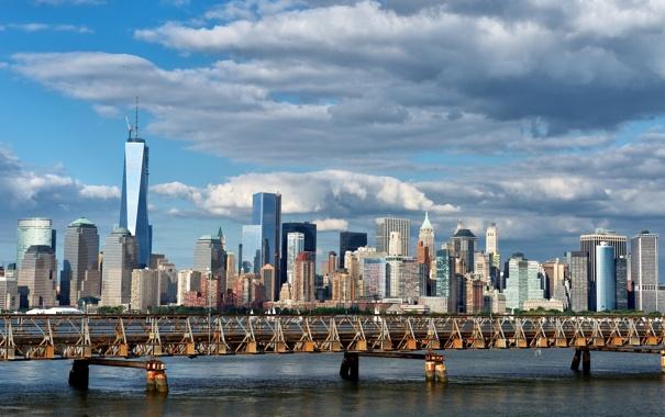 Фото обои мост, здания, Нью-Йорк, панорама, Манхэттен, Manhattan, New York City