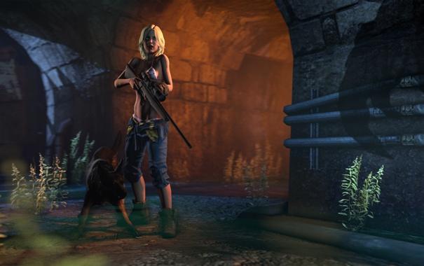 Фото обои грудь, девушка, тень, собака, пес, враг, sniper rifle