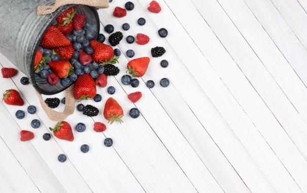 Фото обои ягоды, малина, черника, клубника, fresh, ежевика, strawberry
