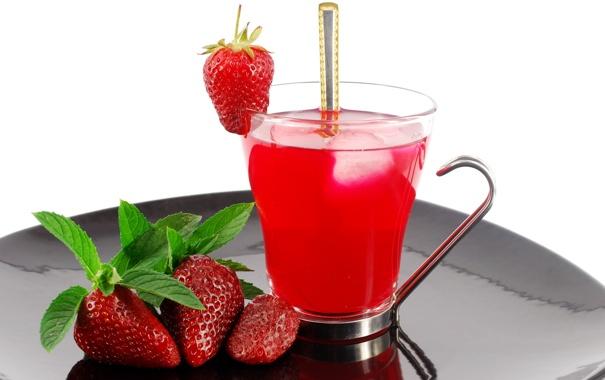 Фото обои лето, чай, клубничка, клубника, ягода, ложка, чашка