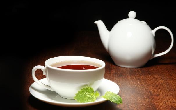Фото обои белый, темный фон, чай, чайник, чашка, мята, заварник