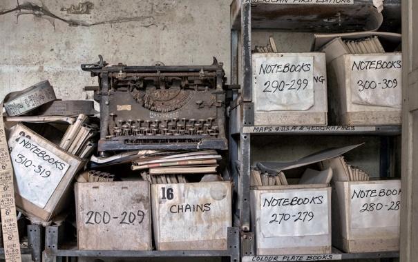 Фото обои фон, печатная машинка, документы