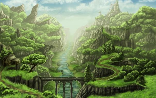 Фото обои деревья, пейзаж, мост, дом, река, скалы, арт