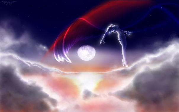 Фото обои небо, облака, луна, крылья, neon genesis evangelion, евангелион, Ayanami Rei