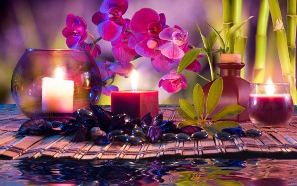Фото обои вода, цветы, свечи, бамбук, орхидеи, water, flowers