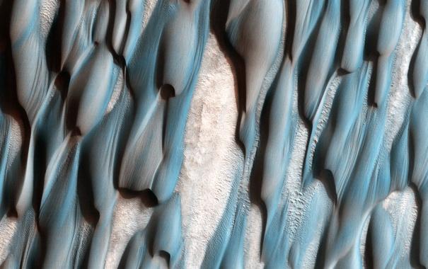 Фото обои поверхность, планета, дюны, Марс