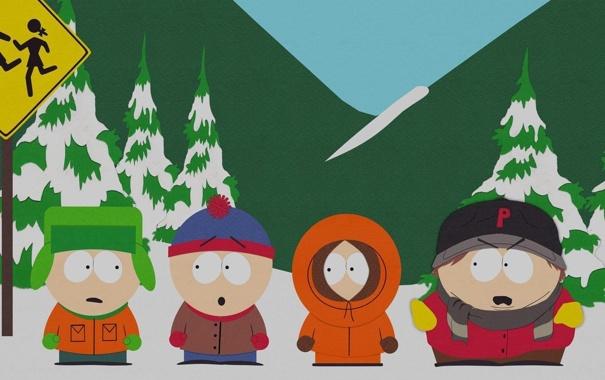 Фото обои снег, мультфильм, сериал, южный парк