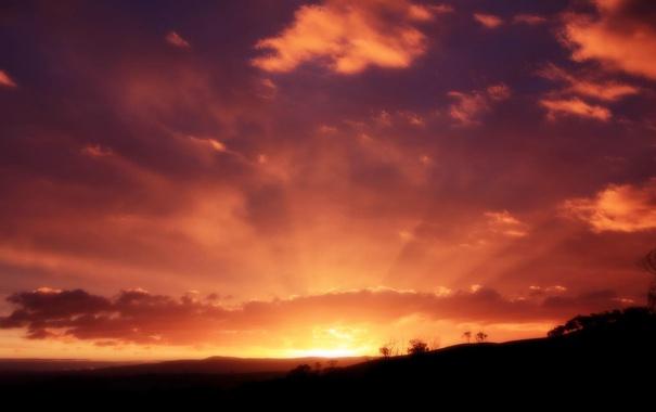 Фото обои небо, солнце, лучи, пейзаж, закат, природа, вечер