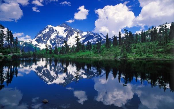 Фото обои лес, горы, природа, озеро, отражение, reflection, Mount Shuksan
