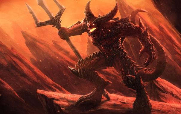 Фото обои скалы, огонь, шипы, пасть, трезубец, когти, Демон