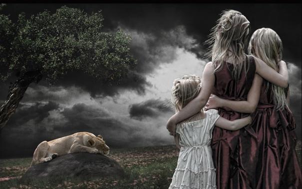 Фото обои стиль, девочки, лев