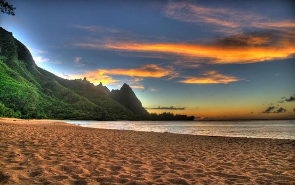 Фото обои пляж, закат, горы