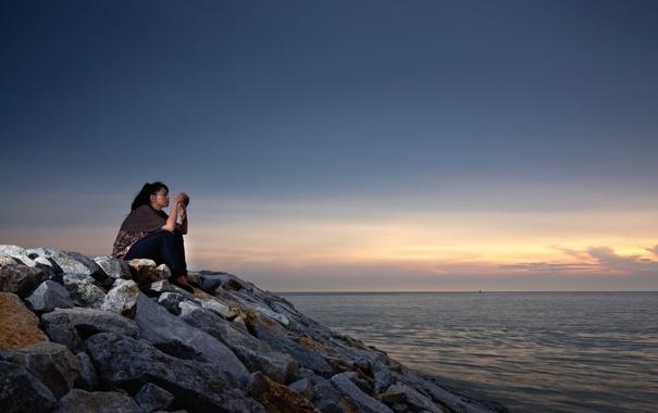Фото обои море, девушка, пейзаж, закат