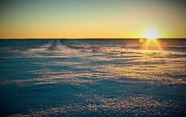 Фото обои зима, поле, небо, солнце, лучи, снег, пейзаж