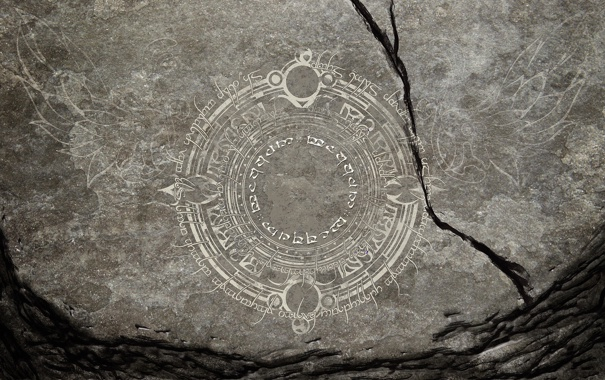 Фото обои трещины, серый, фон, узор, камень, арт, письмена