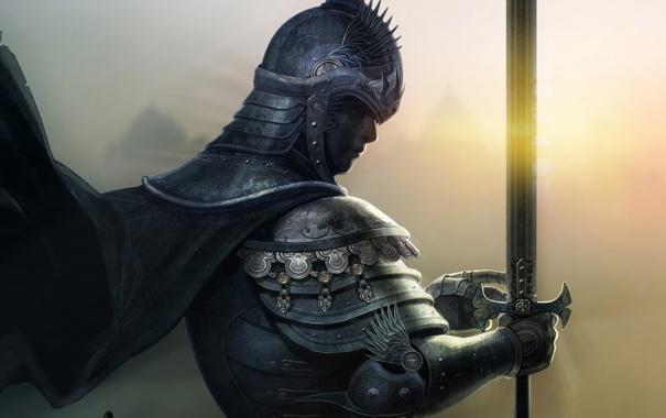Фото обои взгляд, меч, доспехи, воин, рыцарь, плащь