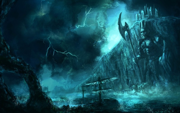 Фото обои море, скала, молния, буря, арт, судно, секира