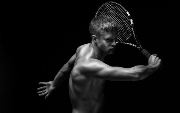 Фото обои тело, ракетка, парень, теннис