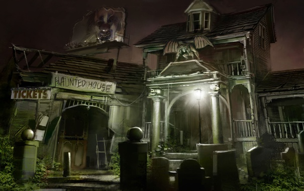 Фото обои ночь, дом, фонарь, кладбище, касса, гаргулья, билборд