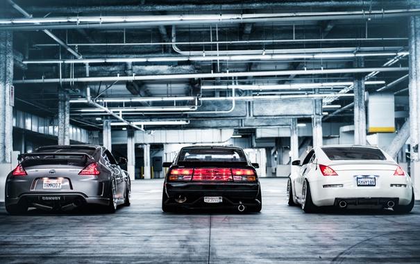 Фото обои Nissan, 350z, трио, ниссан, rear, 370z, 300zx