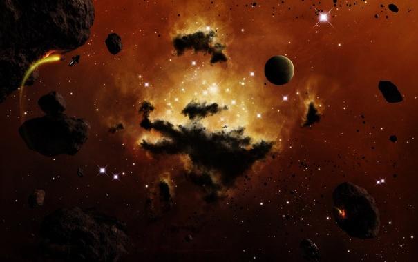Фото обои Flux, планеты, туманность