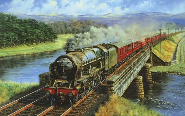Фото обои пейзаж, горы, мост, река, дым, поезд, паровоз