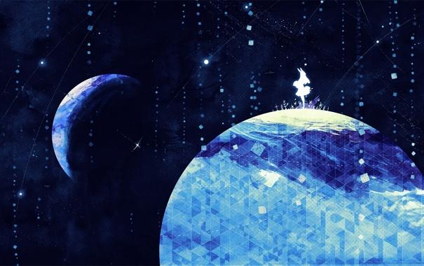 Фото обои абстракция, луна, планета, арт, Земля, девочка, уши
