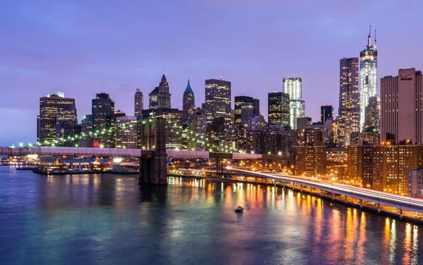 Фото обои дорога, свет, мост, город, огни, река, Нью-Йорк