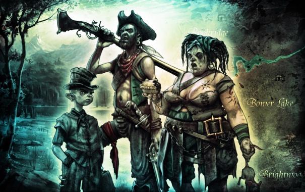 Фото обои карта, нож, пираты, ружье, семейка, веселая, Fable 2