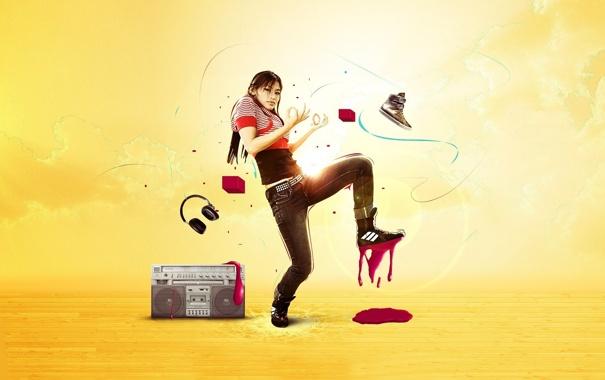 Фото обои Девушка, наушники, ботинок, магнитола, танцует