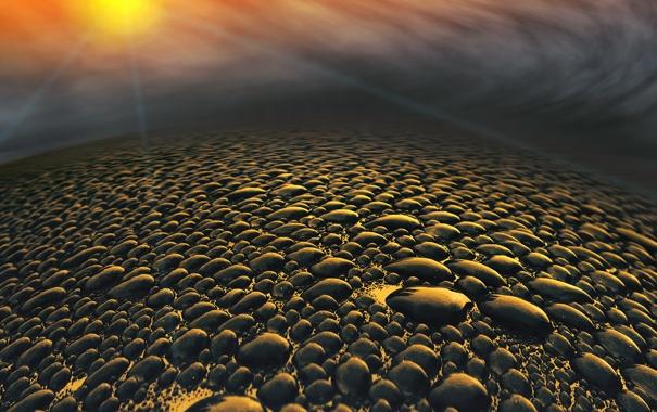 Фото обои пейзаж, камни, планета