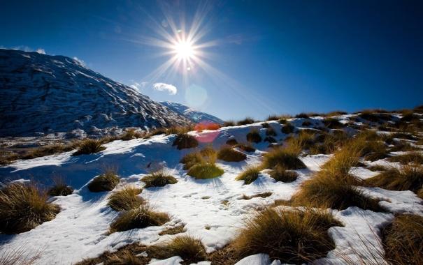 Фото обои зима, небо, солнце, снег, пейзаж, горы, природа