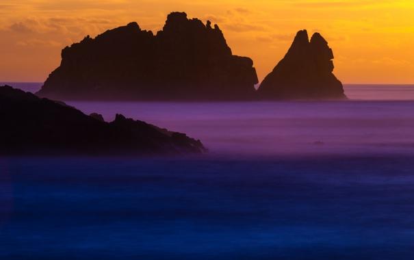 Фото обои закат, скалы, небо, море