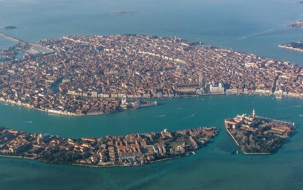 Фото обои море, острова, дома, Италия, панорама, Венеция, каналы