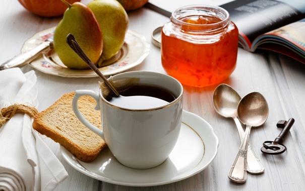 Фото обои чай, завтрак, ключ, чашка, книга, фрукты, груши