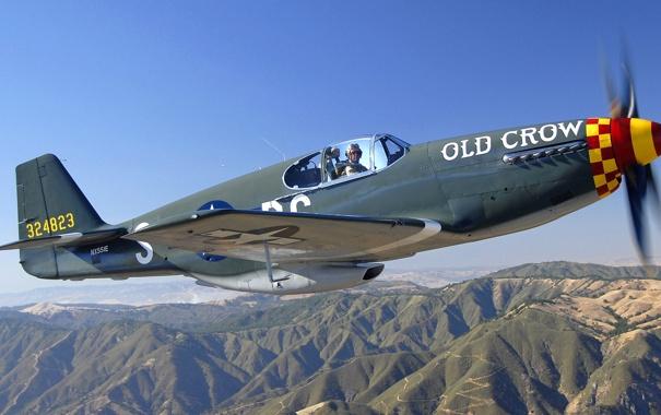 Фото обои небо, полет, горы, самолет, истребитель, пилот, пропеллер