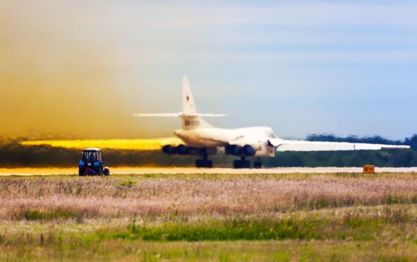 Фото обои Полет, Россия, Авиация, Туполев, Взлет, Ту-160, Blackjack