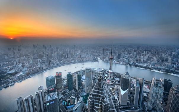 Фото обои река, рассвет, дома, горизонт, панорама, Китай, Шанхай