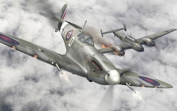 Фото обои авиация, истребитель, Messerschmitt, британский, подбитый, Spitfire, Bf.110