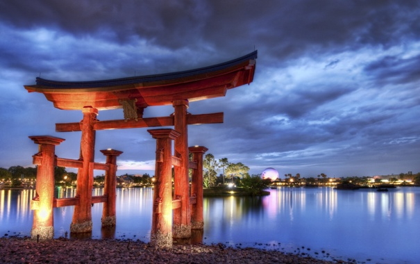 Фото обои вечер, Китай, арка, Архитектура