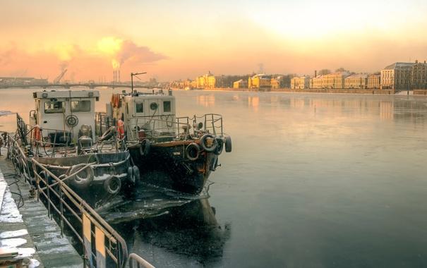 Фото обои Санкт-Петербург, Нева, март