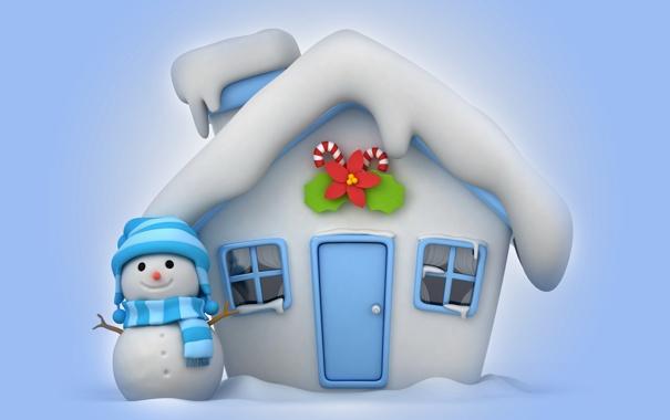 Фото обои зима, снег, снеговик, house, christmas, new year, winter