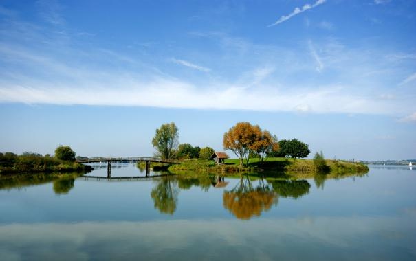 Фото обои небо, вода, деревья, озеро, река, фото, обои