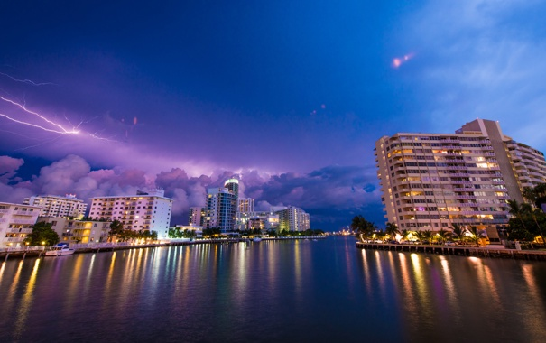 Фото обои небо, тучи, огни, молния, Майами, вечер, Флорида