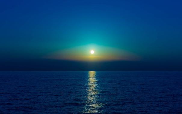 Фото обои море, отражение, луна, зеркало, горизонт, лунный свет