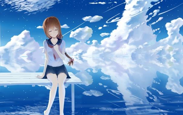Фото обои небо, вода, девушка, облака, отражение, аниме, арт