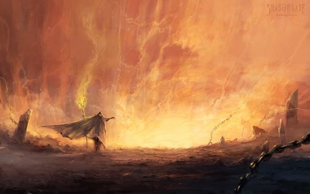 Фото обои огонь, человек, фэнтези, арт, посох, цепи, плащ
