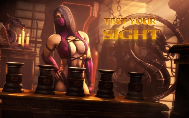 Фото обои грудь, женщина, mortal kombat, mileena, test your sight