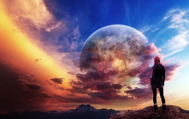 Фото обои небо, девушка, пейзаж, горы, фон, фантастика, ветер